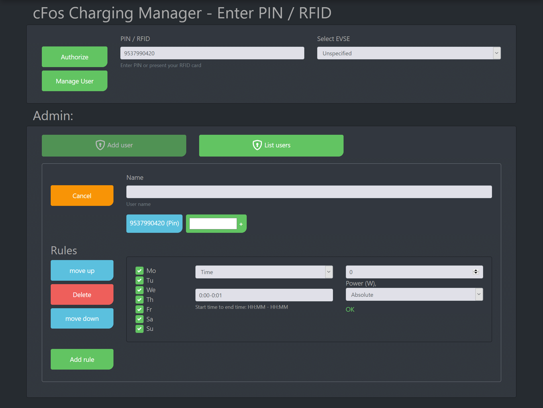 Screenshot cFos Charging Manager Documentation - RFID / PIN