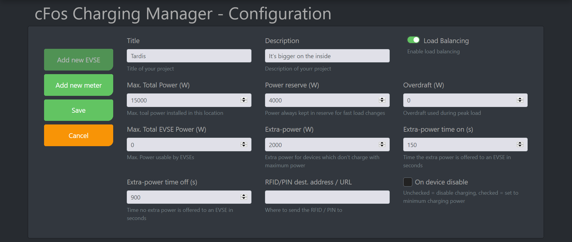 Screenshot #1 cFos Charging Manager Documentation - Configuration